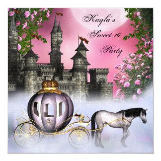 Fiesta rosado de princesa Sweet 16 de los rosas Invitación 13,3 Cm X 13,3cm