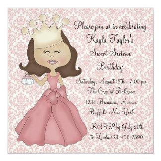Fiesta rosado de princesa Sweet 16 del damasco Anuncio