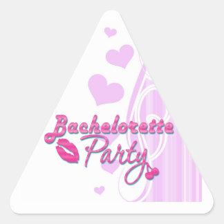 fiesta rosado del bachelorette de las cerezas de pegatina triangular
