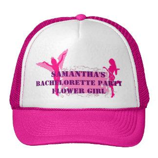Fiesta rosado del bachelorette del florista gorros bordados