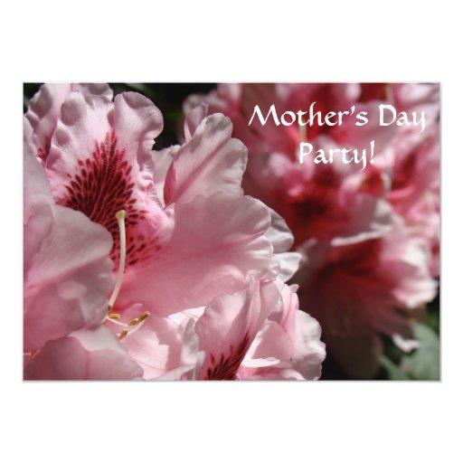 """Fiesta rosado del día de madre de las flores de invitación 5"""" x 7"""""""