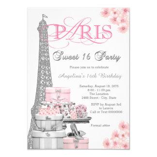 """Fiesta rosado del dulce 16 de París Invitación 4.5"""" X 6.25"""""""