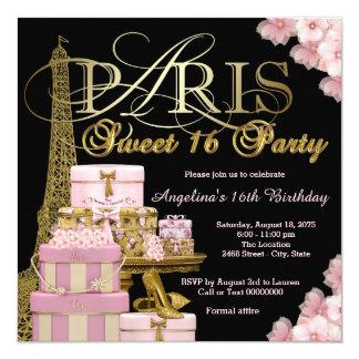 """Fiesta rosado del dulce 16 de París Invitación 5.25"""" X 5.25"""""""