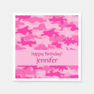 Fiesta rosado del feliz cumpleaños del camuflaje servilletas desechables