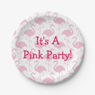Fiesta rosado del flamenco plato de papel de 7 pulgadas