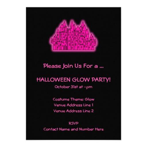 Fiesta rosado del resplandor de Halloween Comunicados Personales