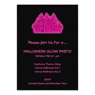 Fiesta rosado del resplandor de Halloween Invitación 12,7 X 17,8 Cm