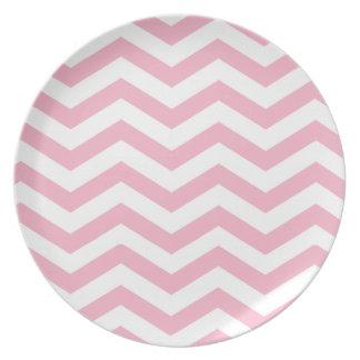 Fiesta rosado elegante del monograma el | de platos de comidas
