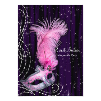 """Fiesta rosado púrpura negro de la mascarada del invitación 5"""" x 7"""""""
