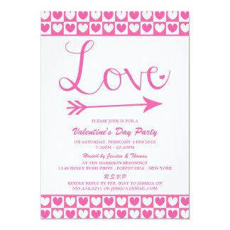"""Fiesta rosado y blanco del el día de San Valentín Invitación 5"""" X 7"""""""