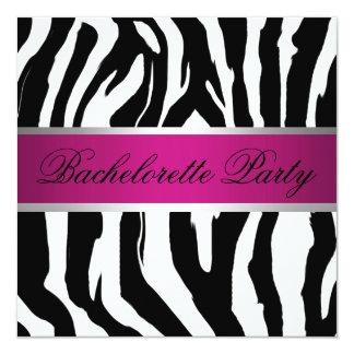 """Fiesta rosado y negro de Bachelorette de la cebra Invitación 5.25"""" X 5.25"""""""