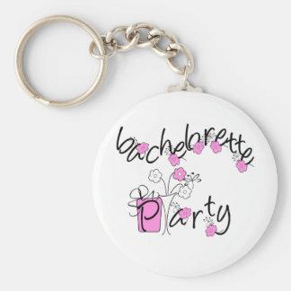 Fiesta rosado y negro de Bachelorette de las flore Llavero Redondo Tipo Pin