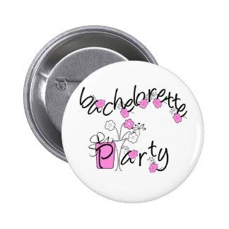Fiesta rosado y negro de Bachelorette de las flore Pin Redondo 5 Cm