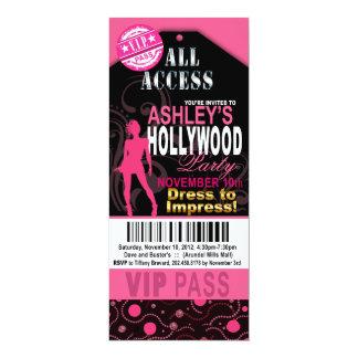 Fiesta rosado y negro del boleto del VIP Hollywood Invitación 10,1 X 23,5 Cm