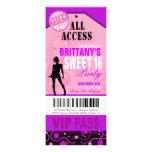 Fiesta rosado y púrpura del boleto del dulce 16 de anuncio personalizado