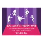 Fiesta rosado y púrpura Inviation del trampolín Comunicados Personalizados