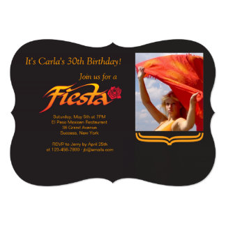 "Fiesta Rose Photo Invitation 5"" X 7"" Invitation Card"