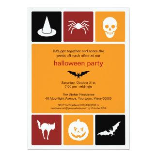 """Fiesta simple de Halloween de los iconos Invitación 5"""" X 7"""""""