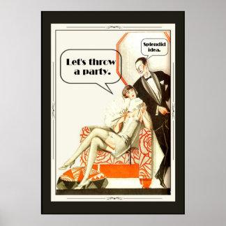 Fiesta simplemente fabuloso del art déco de los añ posters