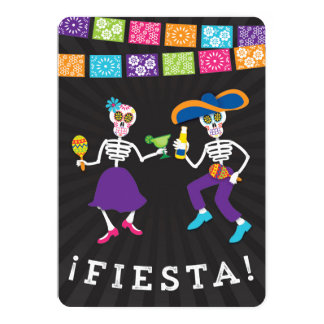 Fiesta Skulls Party Invitation with banners