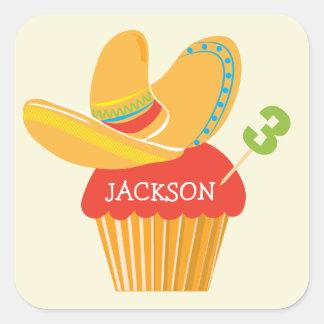 Fiesta Sombrero Cupcake Personalized Sticker