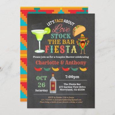 Fiesta stock the bar couples shower chalkboard invitation