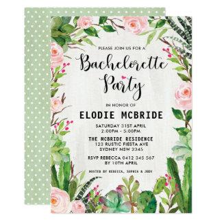 Fiesta Succulent Pink Floral Bachelorette Invite