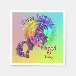 Fiesta temático del unicornio mágico del arco iris servilletas desechables