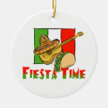 Fiesta Time Double-Sided Ceramic Round Christmas Ornament