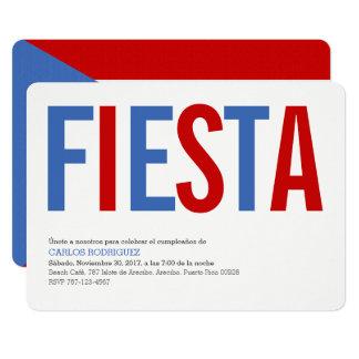 Fiesta: Traditional: Puerto Rico Flag Invitation
