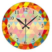 Fiesta Triangle Geometric Fractal Pattern Large Clock