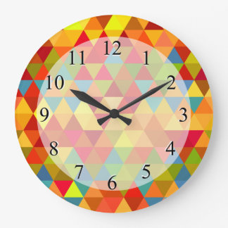 Fiesta Triangle Geometric Fractal Pattern Large Clock