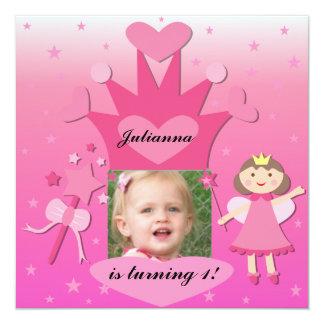 """Fiesta trigueno con la princesa Birthday Invites Invitación 5.25"""" X 5.25"""""""