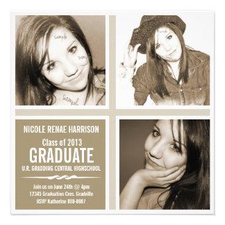 Fiesta triple neutral del graduado de la foto de B Invitaciones Personales