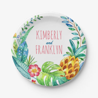 fiesta tropical de la playa de las palmas de la platos de papel