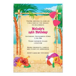 """Fiesta tropical de la playa invitación 5"""" x 7"""""""