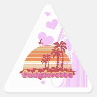 fiesta tropical del bachelorette de Hawaii de las Pegatina Triangular