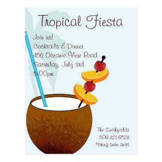 Fiesta tropical, invitación del cóctel postal