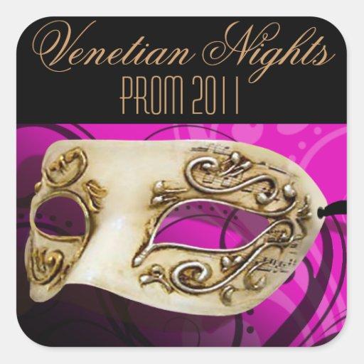 Fiesta veneciano de la mascarada de las noches del calcomanía cuadrada personalizada