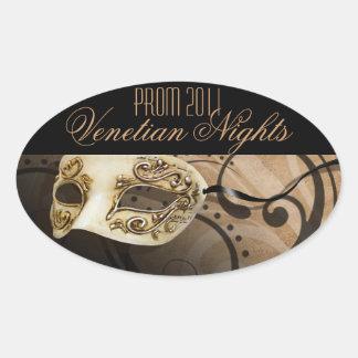 Fiesta veneciano de la mascarada de las noches del pegatina ovalada