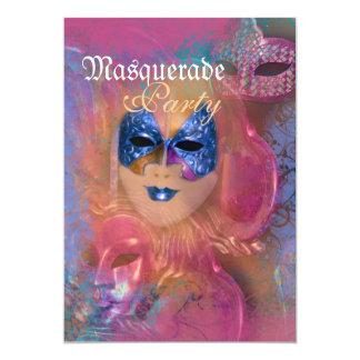 """Fiesta veneciano del carnaval de la máscara de la invitación 5"""" x 7"""""""