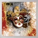 Fiesta veneciano del carnaval de la máscara de la póster