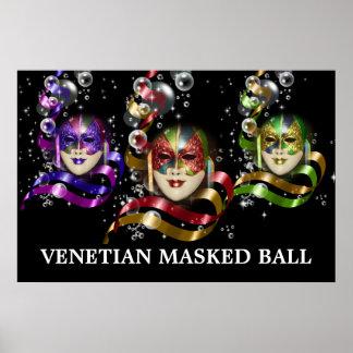 Fiesta veneciano del tema de la máscara de la póster