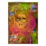 Fiesta veneciano del traje de mascarada de la másc tarjeta de felicitación