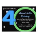 Fiesta verde/40.a de cumpleaños del azul para invitacion personalizada