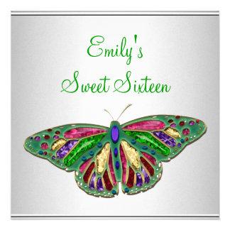Fiesta verde blanco de la mariposa de la joya del invitaciones personales