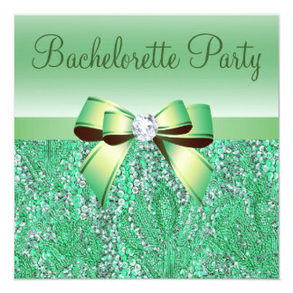 Fiesta verde de Bachelorette de las lentejuelas, Invitación 13,3 Cm X 13,3cm