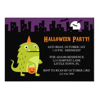 """Fiesta verde de Halloween del monstruo Invitación 5"""" X 7"""""""
