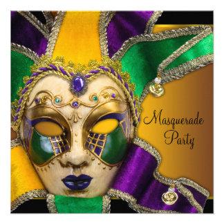 Fiesta verde de la mascarada de la púrpura y del o