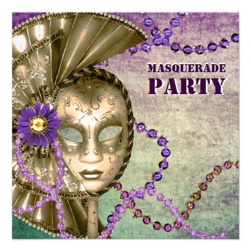Fiesta verde púrpura de la mascarada de las gotas  comunicados